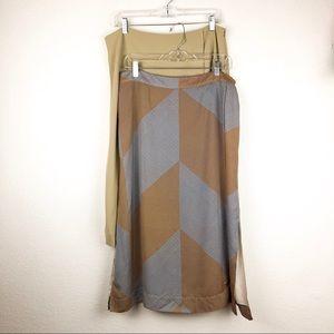 MM Lafleur Skirt Lot of Two Size 14 Beige/Geo